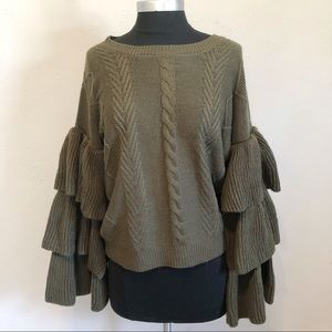 Elan Bell Tiered Sleeve Olive Green Fall Sweater